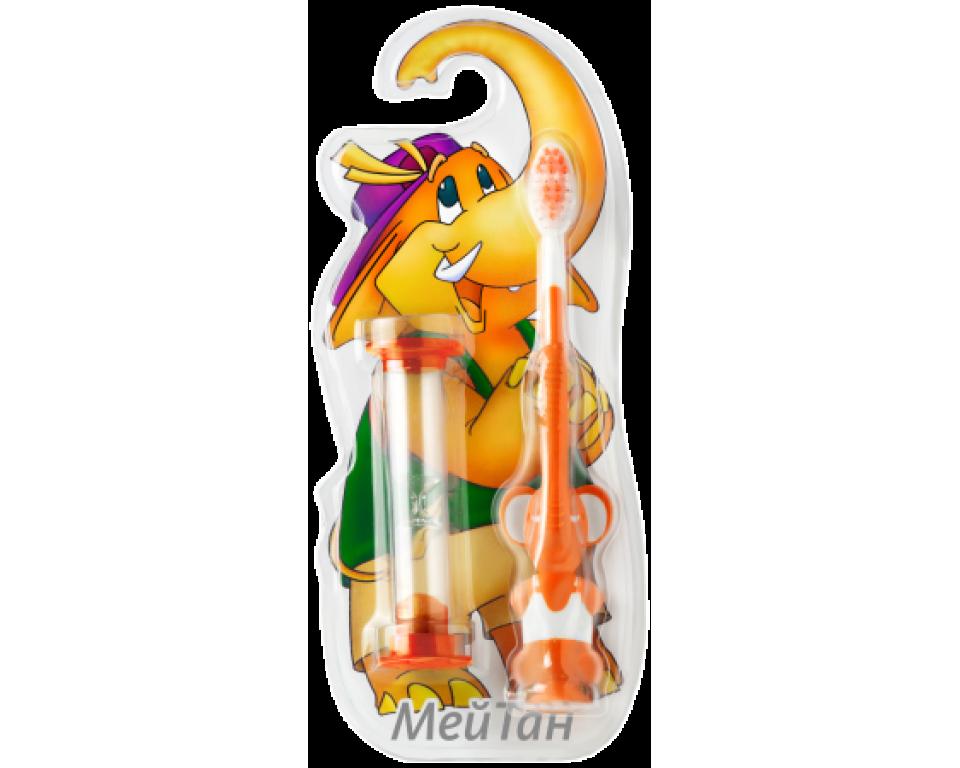 Vaikiškas dantų šepetėlis su žaisliuku, (oranžinis) 1 vnt.